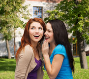 Two smiling girls whispering gossip Stock Photo