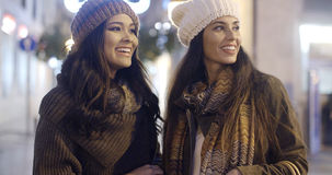 Two smiling happy women in winter outfits Royalty Free Stock Image