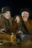 Two smiling hunters royalty free stock photos