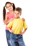 Two smiling kids standing together Royalty Free Stock Photo