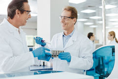 Two smiling male researchers discussing results Royalty Free Stock Photography