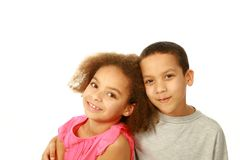 Two smiling mixed race children Stock Images