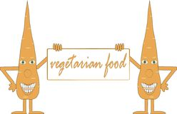 Two smiling orange carrot holding a board, inscripti Vegetarion food, arms, legs, green eyes, white background Stock Photos