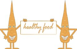 Two smiling orange carrot holding a board, inscription Healthy food, arms, legs, green eyes, white background Stock Photos