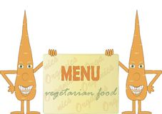 Two smiling orange carrot holding a board, inscription Menu, Vegetarian food, arms, legs, green eyes, white background Royalty Free Stock Photos