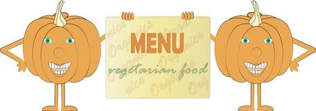 Two smiling orange pumpkin holding a sign, inscription Menu, Vegetarian food Stock Images