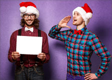 Two smiling Santa Claus in Christmas. Royalty Free Stock Photography