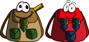 Two smiling school bag Royalty Free Stock Photos