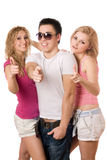 Two smiling sexy women and handsome young man Stock Image