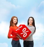 Two smiling teenage girl with percent sign on box Royalty Free Stock Image