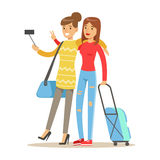 Two smiling tourists girl with suitcases standing and taking selfie photo on smart phone. People traveling colorful. Cartoon character vector Illustration Stock Images