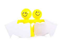 Two smiling toy little men Royalty Free Stock Photo