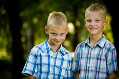 Two smiling twin brothers portrait Royalty Free Stock Image
