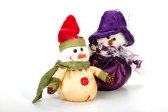 Two Smiling Warmly-Dressed Snowmen as Christmas Decorations Royalty Free Stock Photos