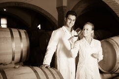Two smiling wine house workers checking quality of product Royalty Free Stock Photo