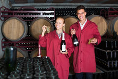 Two smiling winery employees in aging section in cellar Stock Images