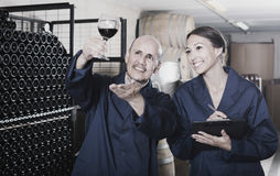 Two smiling winery workers in aging section of factory Stock Images