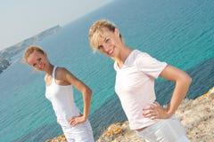 Two smiling women stock photo