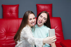 Two smiling women makes selfie on camera Stock Images