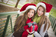 Two Smiling Women Santa Hats Holding a Wrapped Gift Royalty Free Stock Photo