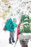 Two smiling women in a winter hike stock photography