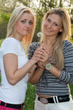 Two smiling young blonde Royalty Free Stock Photography