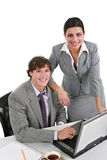 Two Smiling Young Businesspeople Stock Photography