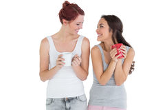 Two smiling young female friends with coffee cups Royalty Free Stock Photo