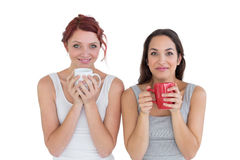 Two smiling young female friends with coffee cups Stock Image
