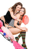 Two smiling young girlfriends. Isolated Stock Photography