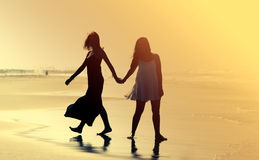Two smiling young teenage girlfriends Royalty Free Stock Photography