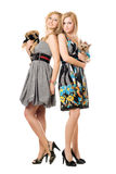 Two smiling young women with dogs Royalty Free Stock Photography