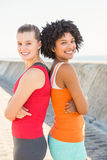 Two smiling young women standing back to back Stock Image