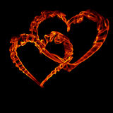 Two smoke fire heart for valentine day. Isolated on black Royalty Free Stock Photos