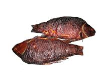 Two Smoked Crucian Fish. Two smoked crucians on white background Royalty Free Stock Photography