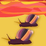 Two snailes at sunset in the desert. Cheerful and colorful  illustration that depicts two snails intent on reaching their destination by crossing a fiery desert Stock Photography