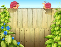 Two snails above the fence Royalty Free Stock Photo