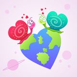Two snails falling in love with world love illustration stock illustration