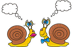 Two snails looking at each druma and think Royalty Free Stock Photography