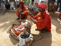 Two snake charmers Stock Images