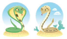 Two Snakes: Cobra and Pit Viper. Royalty Free Stock Photography