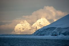 Antarctic summer night - the difference between sun and shade. royalty free stock images
