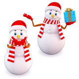 Two snow man with gift Stock Image
