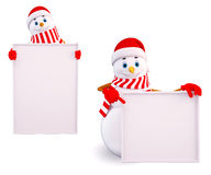 Two snow man with white sign Stock Photo