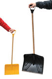 Two snow shovels Royalty Free Stock Photos