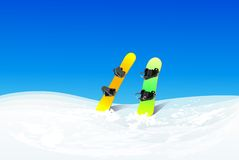 Two snowboard in snow mountain slope vector. Color illustration winter background Stock Photo