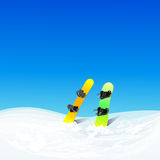 Two Snowboard In Snow Mountain Slope Vector Color Stock Photo