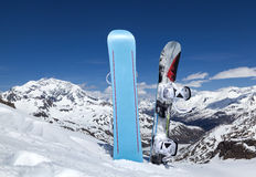Two snowboard standing upright in snow Royalty Free Stock Photography