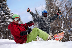 Two snowboarder Royalty Free Stock Image