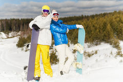 Two snowboarders Royalty Free Stock Images